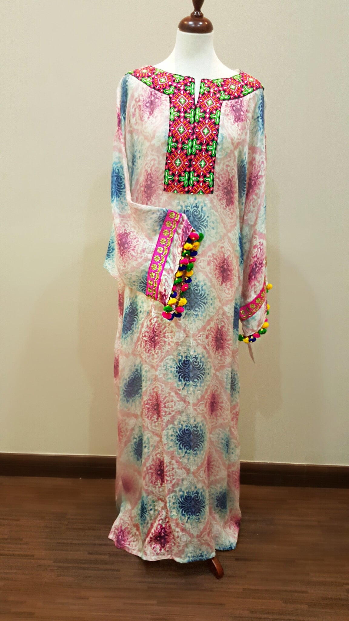 Italian Linen Kaftan with hand embroidery & pompoms