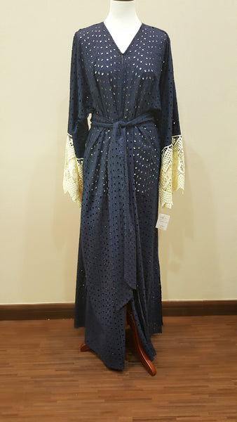Dark Blue Eyelet Cotton Abaya With Lace
