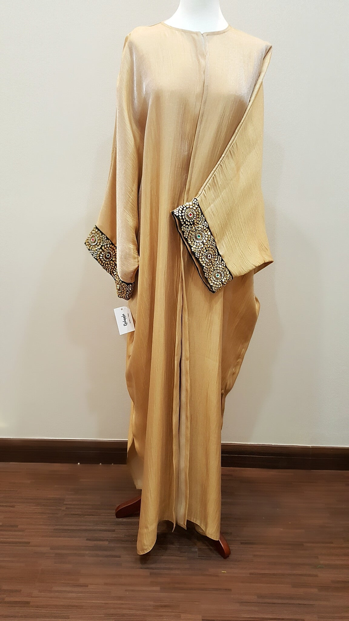 Silk Abaya with exquisite Indian Embroidery in Crystals