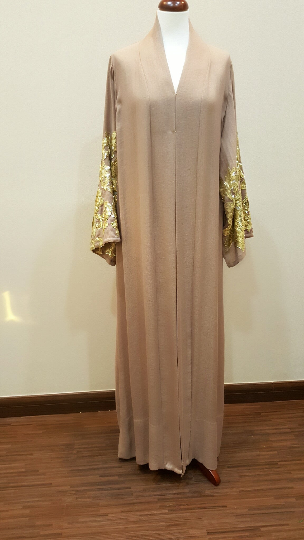 Linen nude Pink Abaya with Gold Sequins