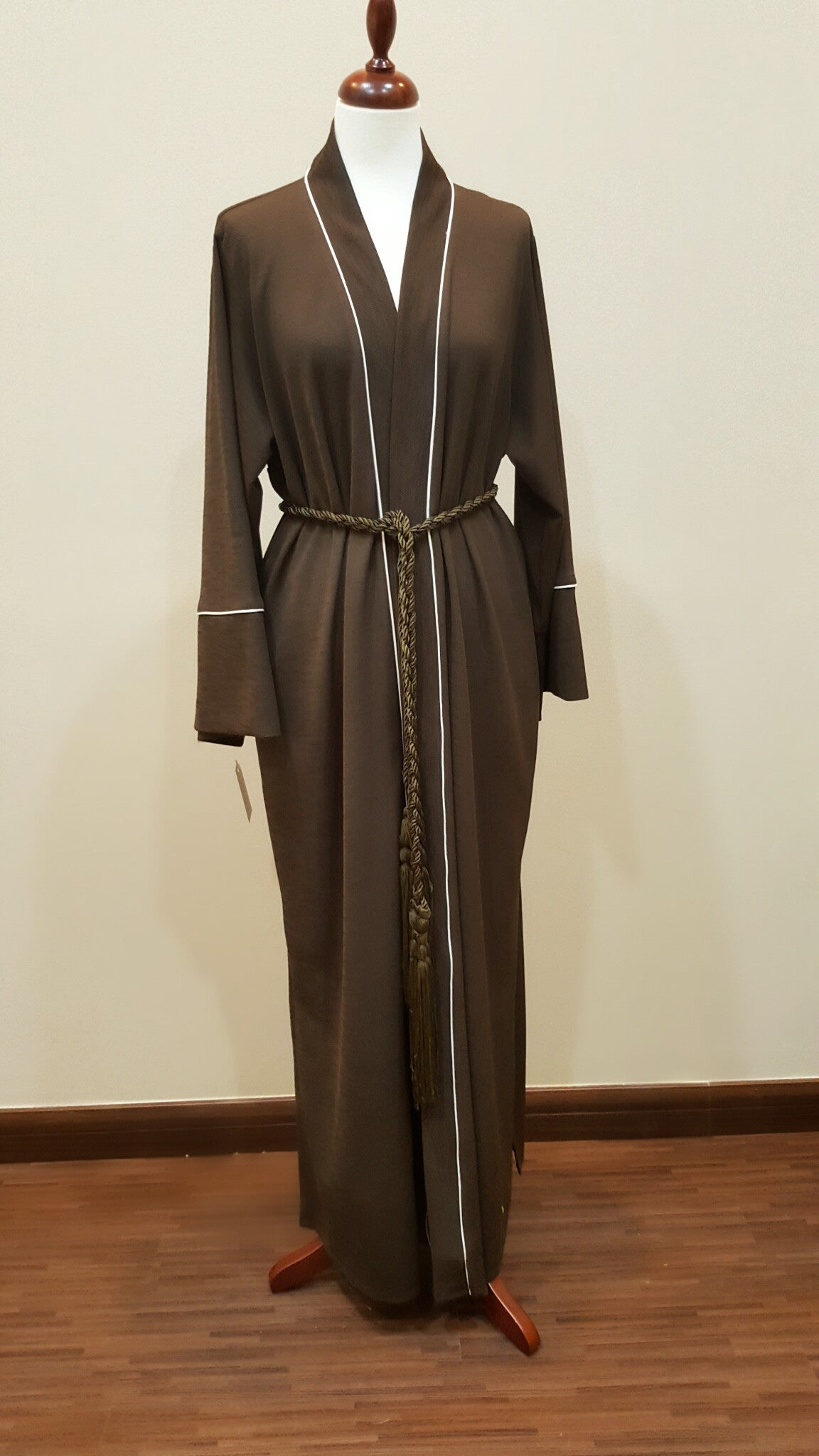Jersey Abaya Brown with White Piping