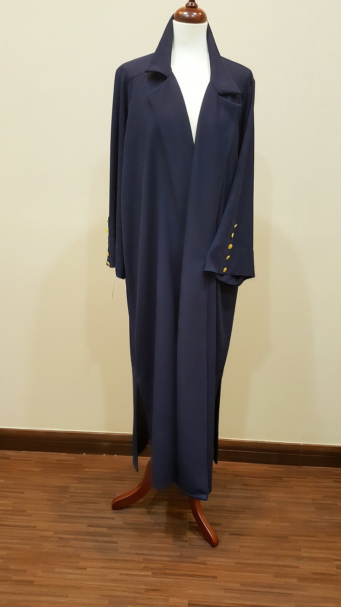 Jersey Blazer Inspired Abaya with Gold Buttons