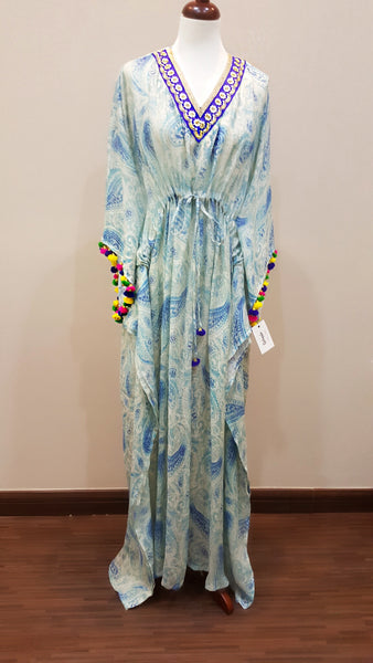 Italian Printed Linen blue Kaftan with Indian Embroidery