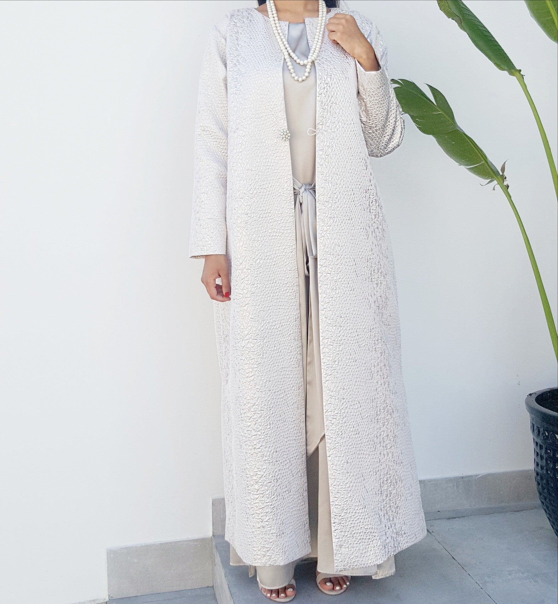 Qabeela SS17  Off White & Matt Silver Jacquard Evening Duster