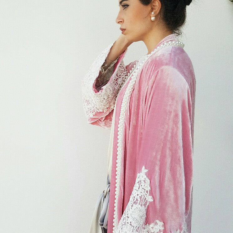 SS17 Candy Pink Silk Velvet Wedding Abaya with Pearls & Lace