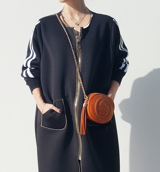 "SPORTSLUXE  ""NYC"" Zipped Sweatshirt Abaya"