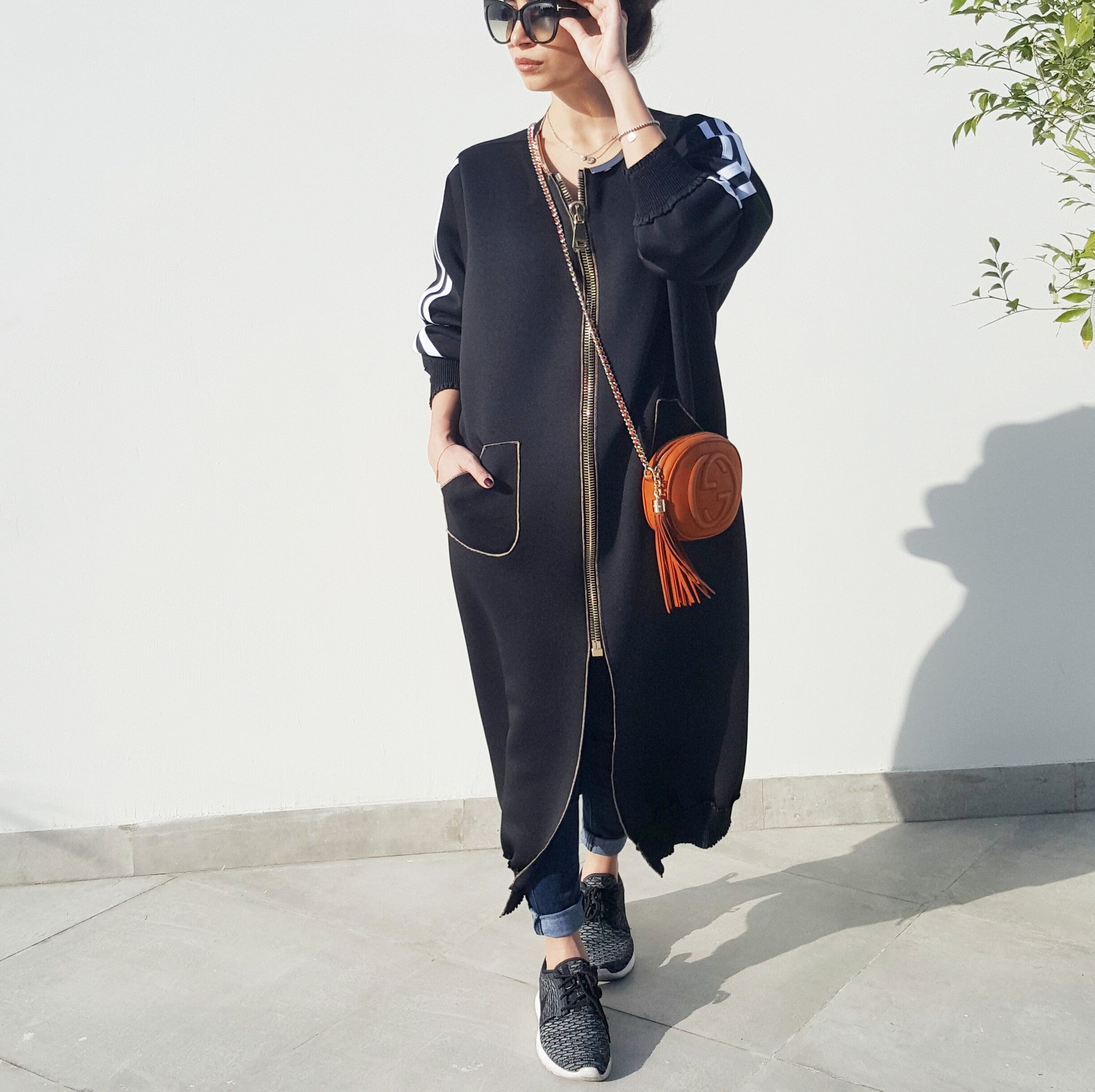 "SPORTSLUXE 17  ""NYC"" Zipped Sweatshirt Abaya"