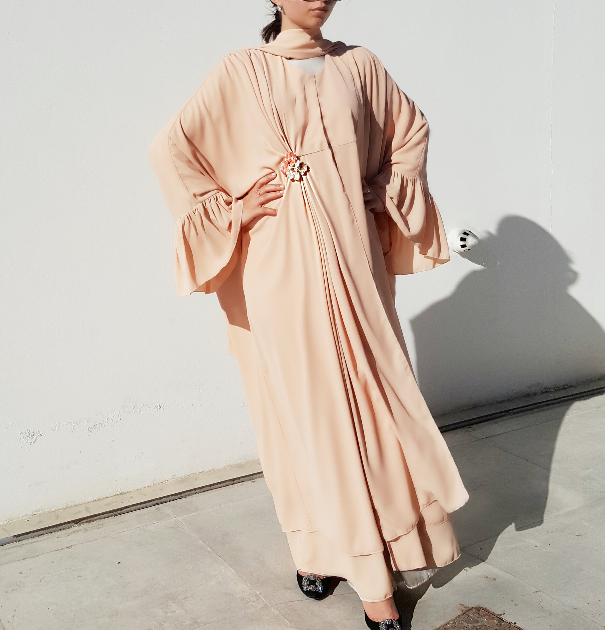 one sided drape abaya kaftan in Nude