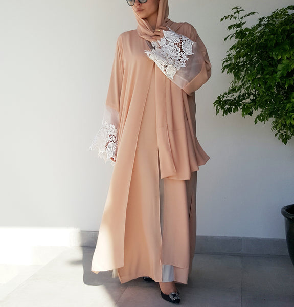 nude with white lace abaya