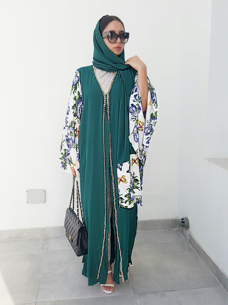 Ramadan 17 Emerald Green Floral Print Crepe Georgette  Double Layer Abaya