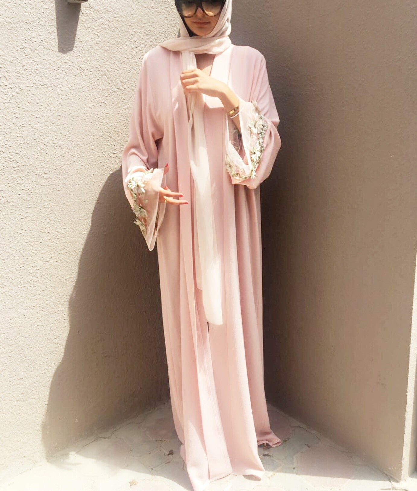 Ramadan 17 Blush Pink Crepe Georgette Abaya with Silver Applique Tulle
