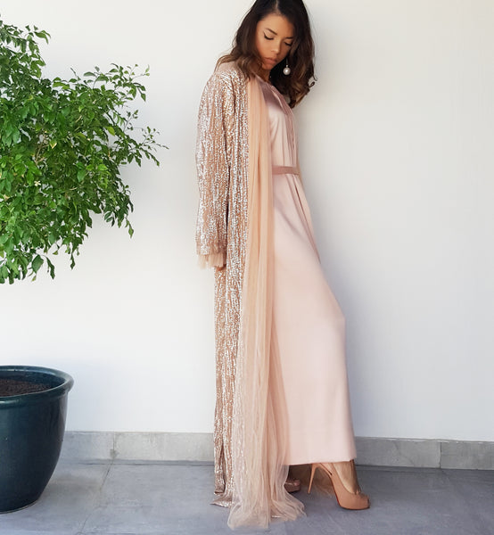 QABEELA SS18 PLEATED TULLE SEQUINS PEACH ABAYA IN NUDE WITH TULLE TIE