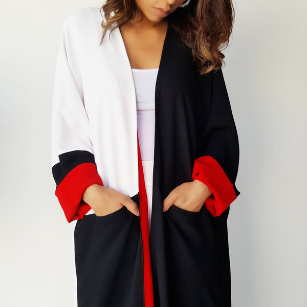 AW17 MONOCHROME WITH RED LINING ABAYA WITH POCKETS