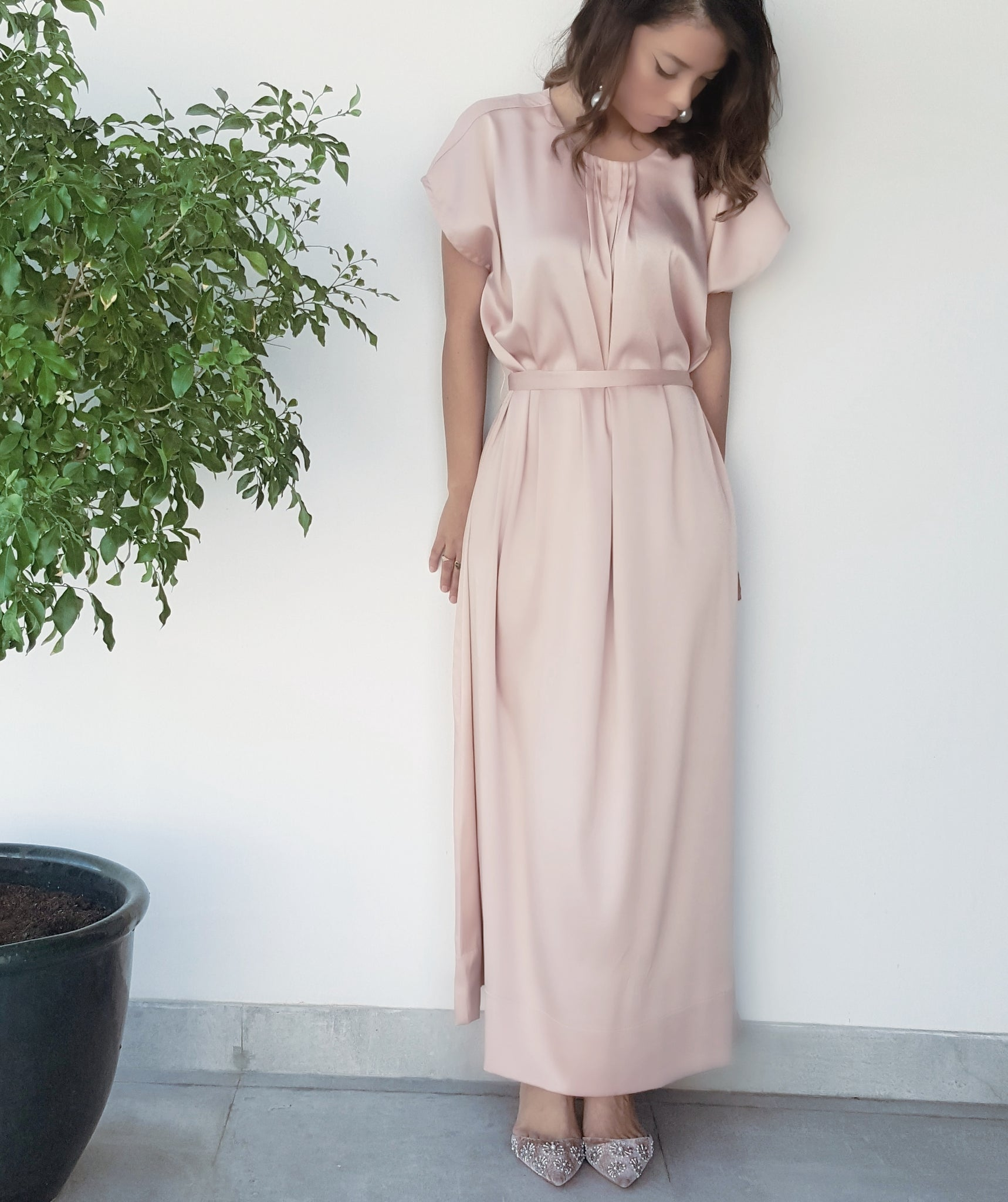 SS18 SATIN SILK MIX PEACH NUDE SHORT SLEEVE BELTED TUNIC