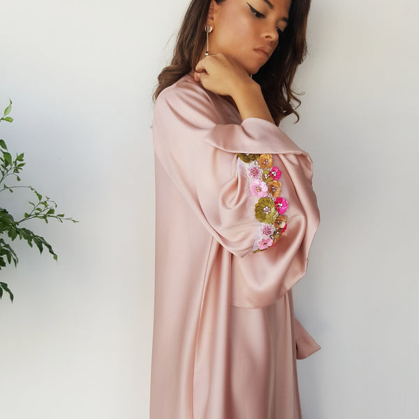 SS18 MATT SATIN PEACH ABAYA WITH SEQUINS