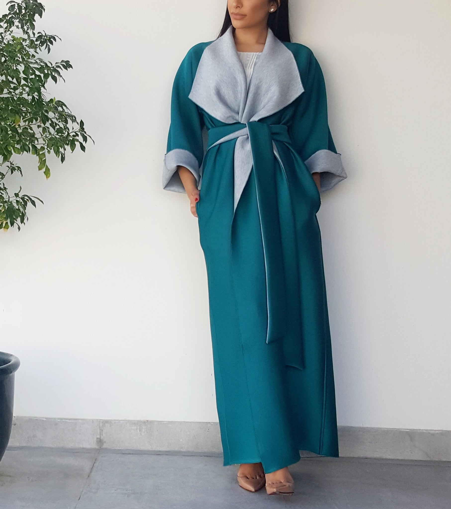 AW17 2 TONE TEAL & GREY OVERLAP SCROLL COLLAR ABAYA IN NEOPRENE