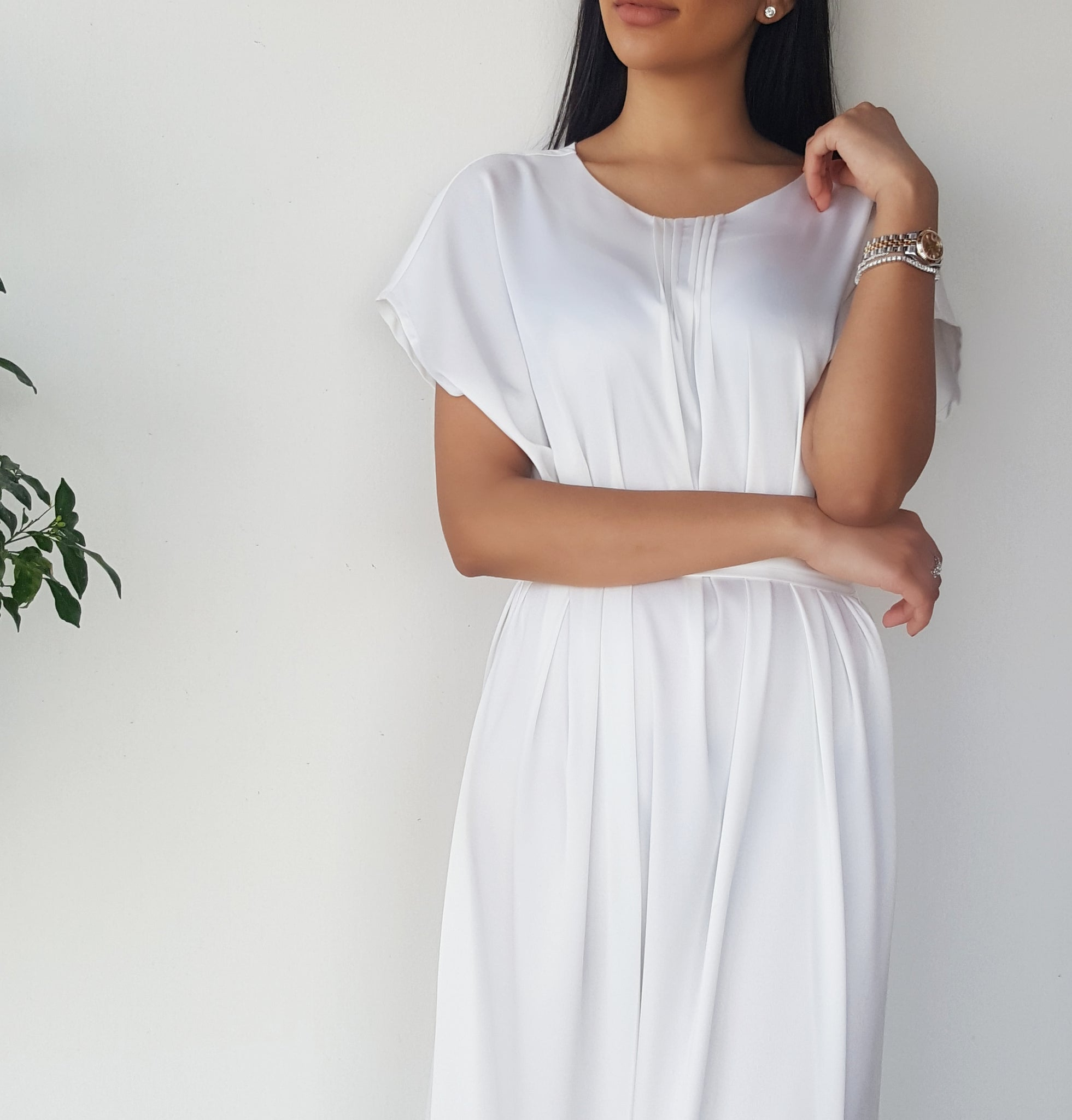 SS18 SATIN SILK MIX WHITE SHORT SLEEVE BELTED TUNIC DRESS
