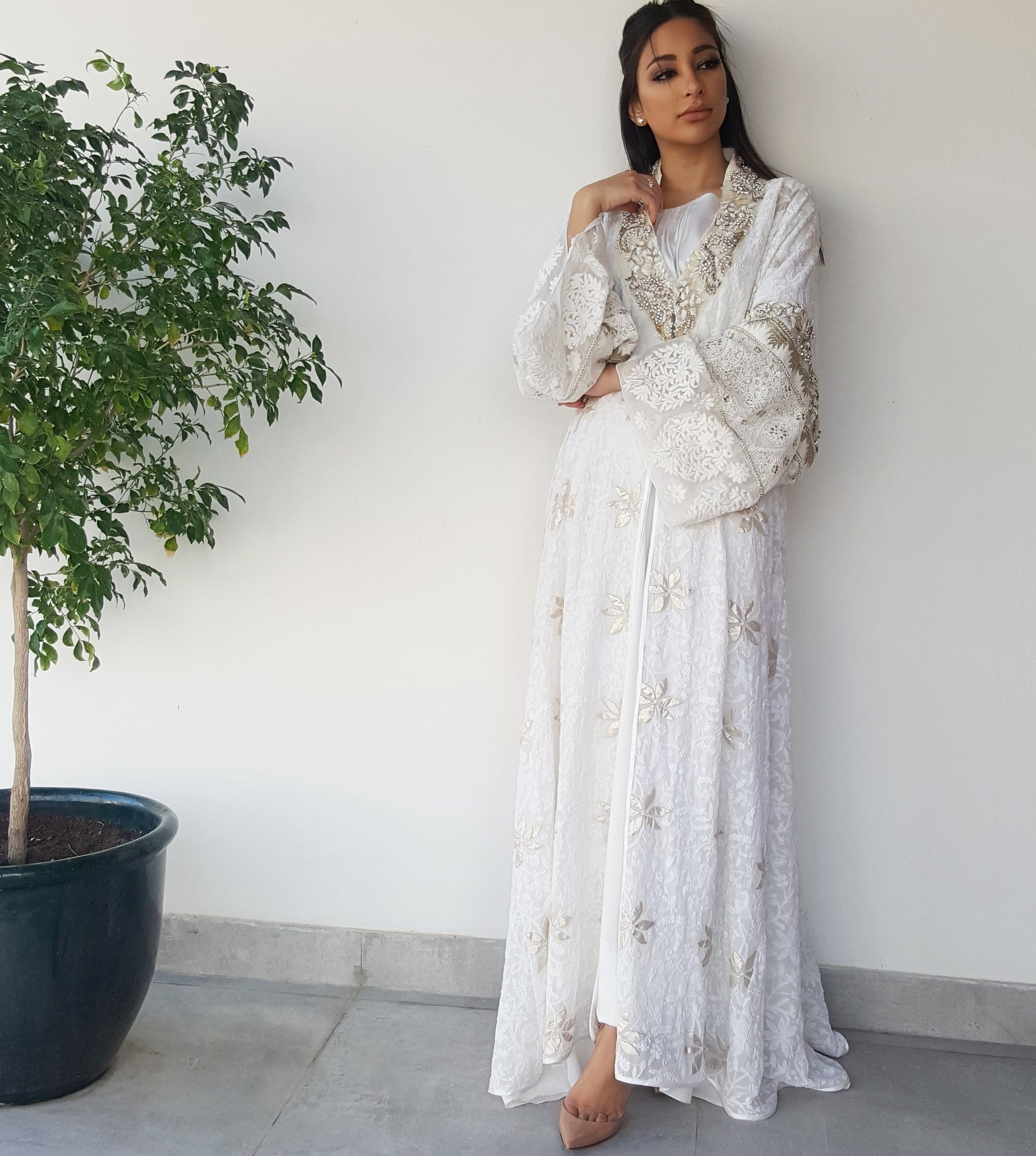 Qabeela Bridal Abaya in Off White Hand Embroidered With Matt gold Embellishments