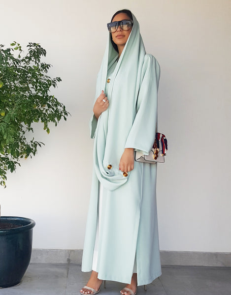 SS18 TIFFANY BLUE CREPE ABAYA WITH MATT GOLD BUTTON DETAILING & SNOOD