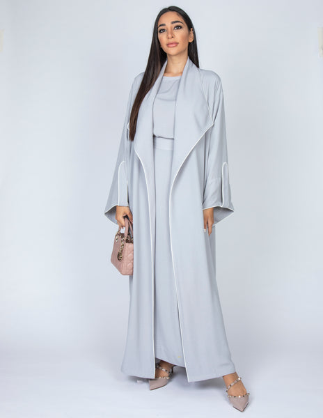 SS20  GREY WORK ABAYA  WITH DRAPE LAPEL