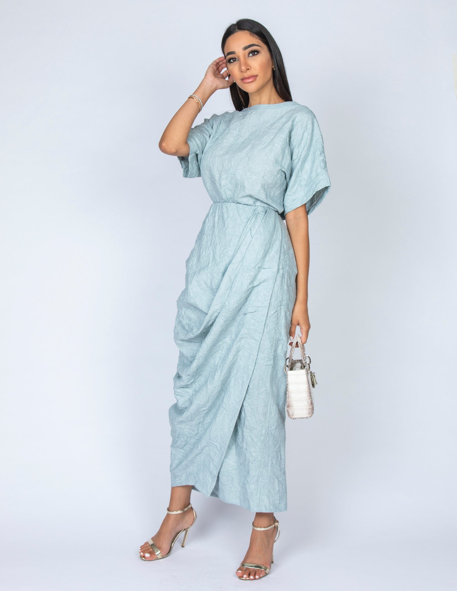 SS20  ORGANIC AQUA CRUSHED LINEN T SHIRT & FAUX WRAP DRAPE SKIRT SET