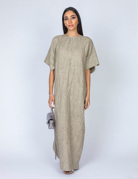 SS20 ORGANIC CRUSHED LINEN T SHIRT DRESS