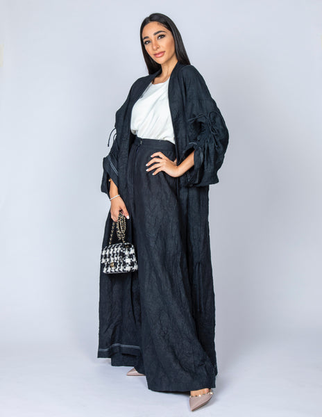 SS20 ORGANIC CRUSHED LINEN BLACK ABAYA DUSTER