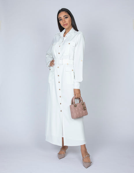 SS20 WHITE UTILITY SAFARI MIDI DRESS