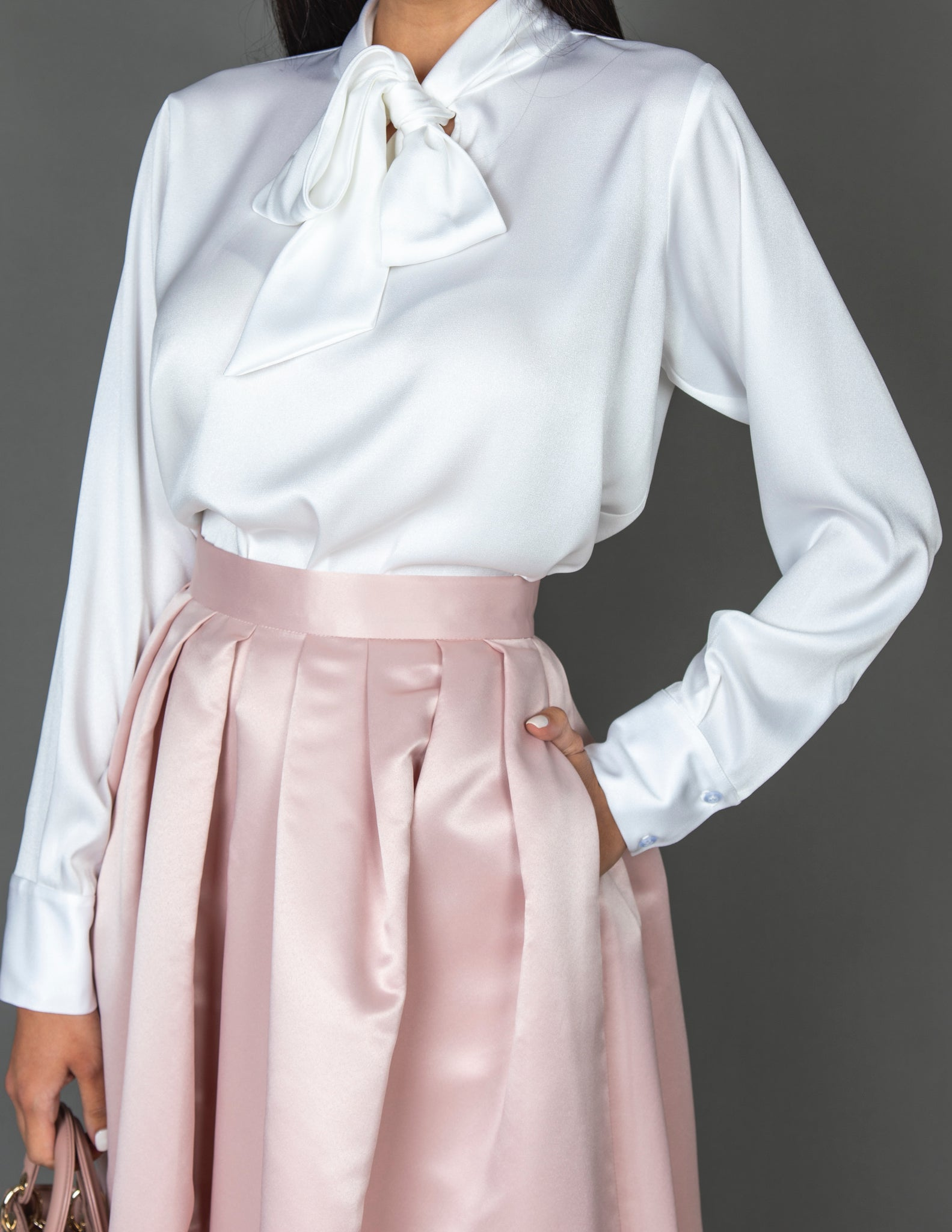 SS20 TAFFETA BALL GOWN SKIRT & MATT SATIN BLOUSE