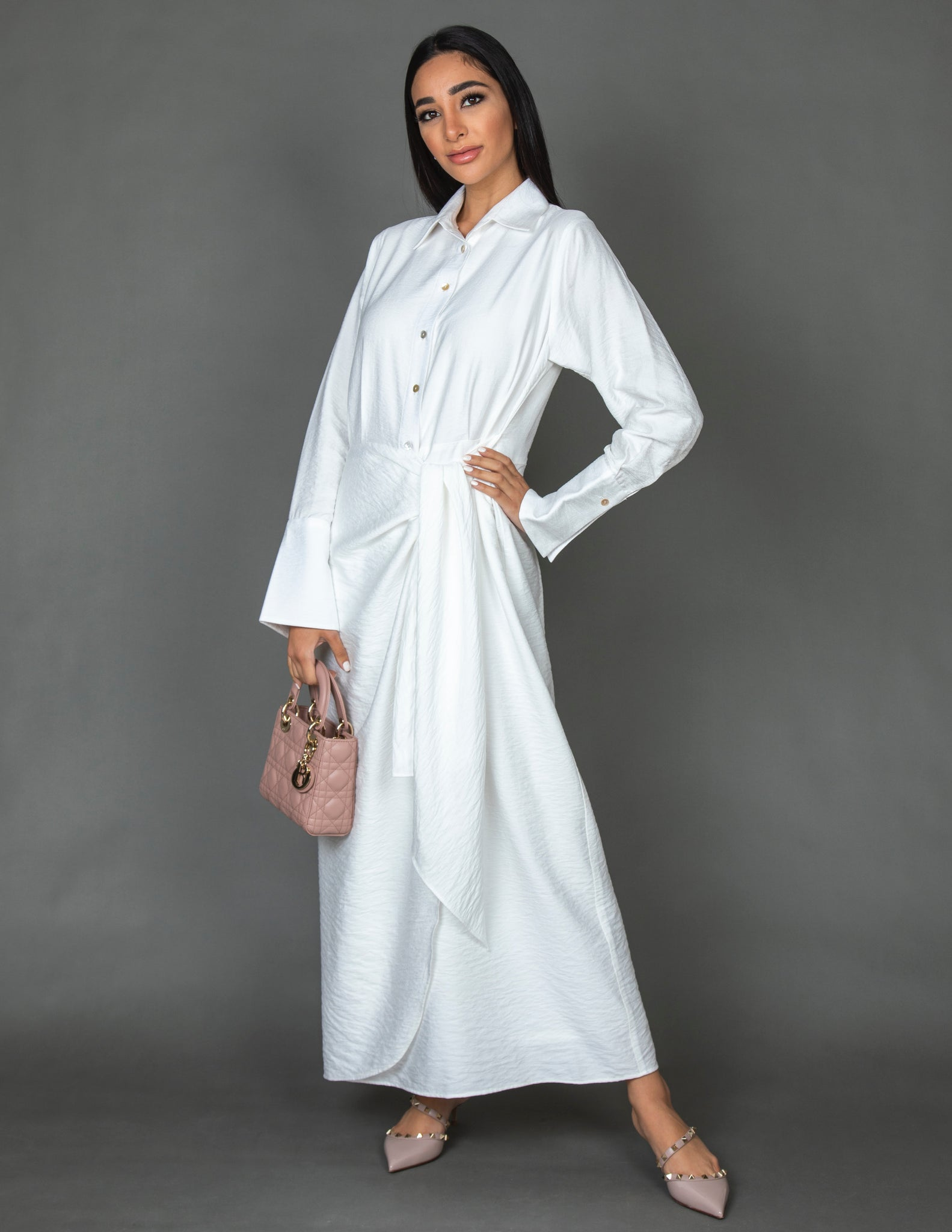 SS20 LINEN SHIRT DRESS WITH WRAP & TIE