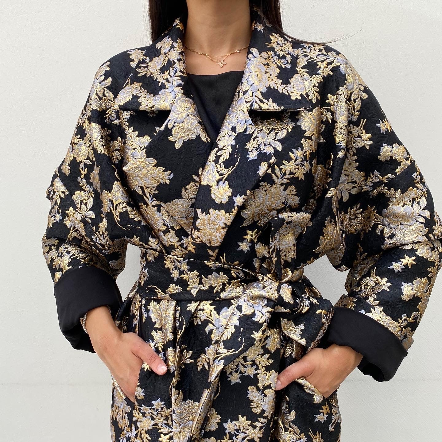 RAM20 PARIS BLACK & GOLD BROCADE LINED OVERCOAT