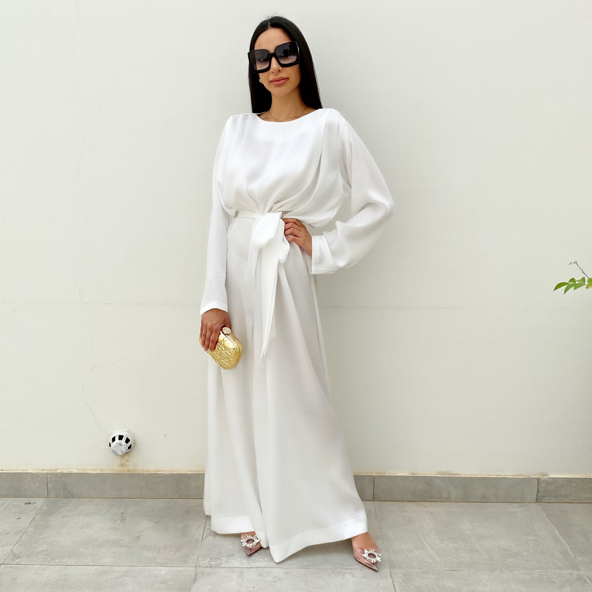 RAM20 WHITE SILK MATT SATIN WIDE LEG JUMPSUIT