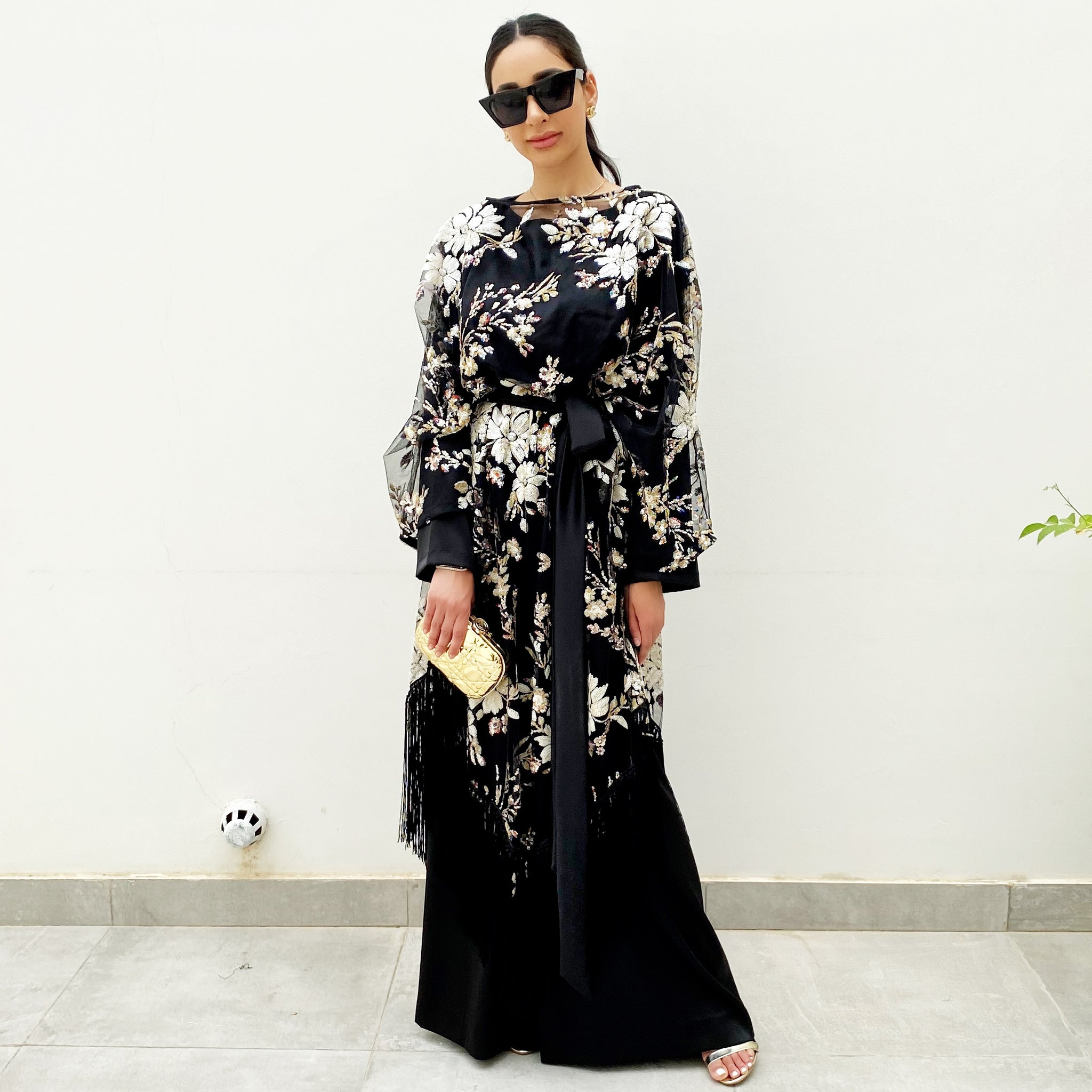 RAM20 BLACK TULLE TUNIC WITH FLORAL SEQUINS & SATIN JUMPSUIT