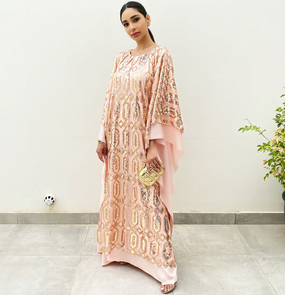 RAM20 PEACH ROSE GOLD SEQUINS KAFTAN