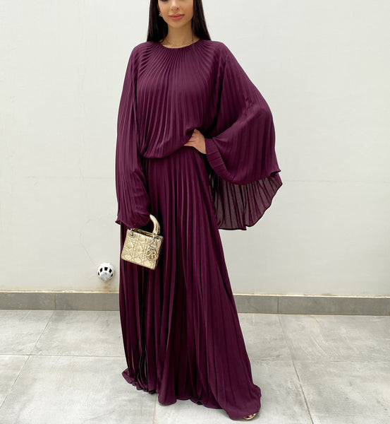 RAM20 AUBERGINE SUNRISE PLEATS JUMPSUIT