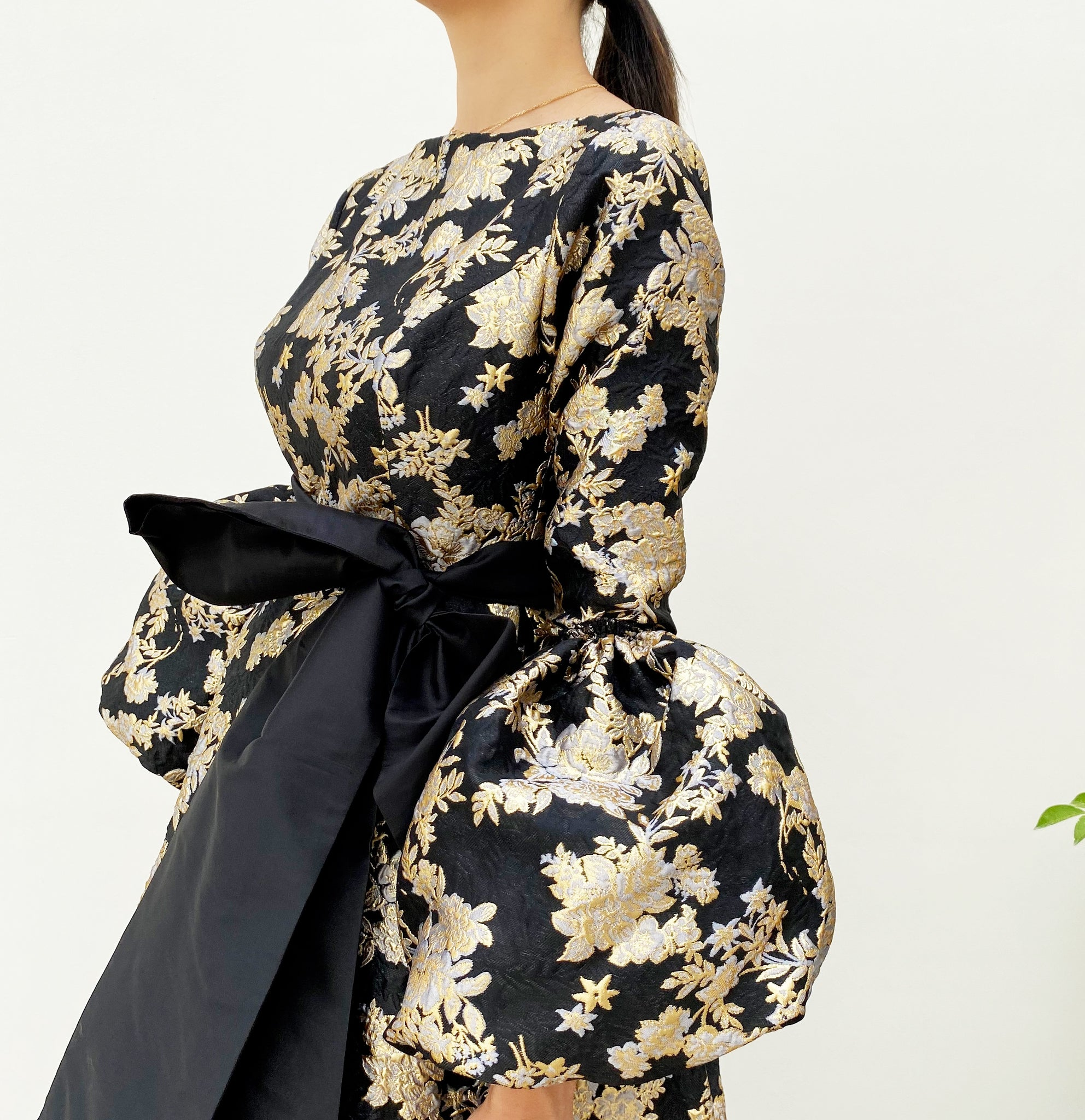 RAM20 MARIE BLACK & GOLD BROCADE DRESS