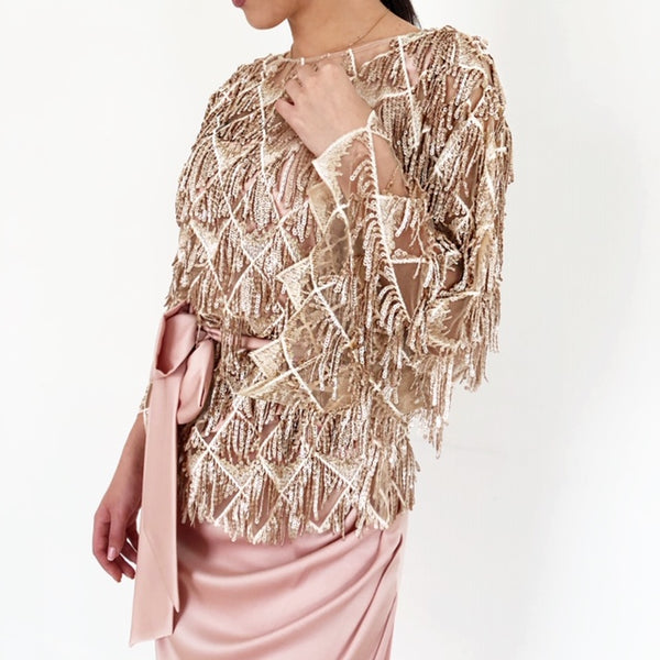 AW18 ROSE GOLD SEQUINS & TASSELS BLOUSE