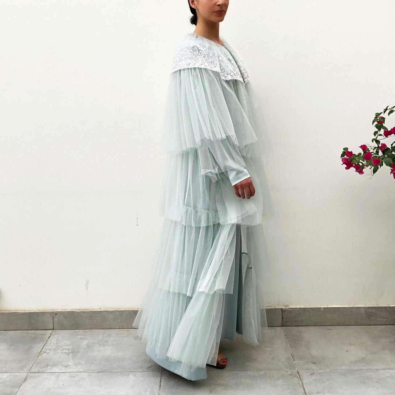 RAM19 AMNA PALE BLUE TULLE LAYERED ABAYA WITH SEQUINS