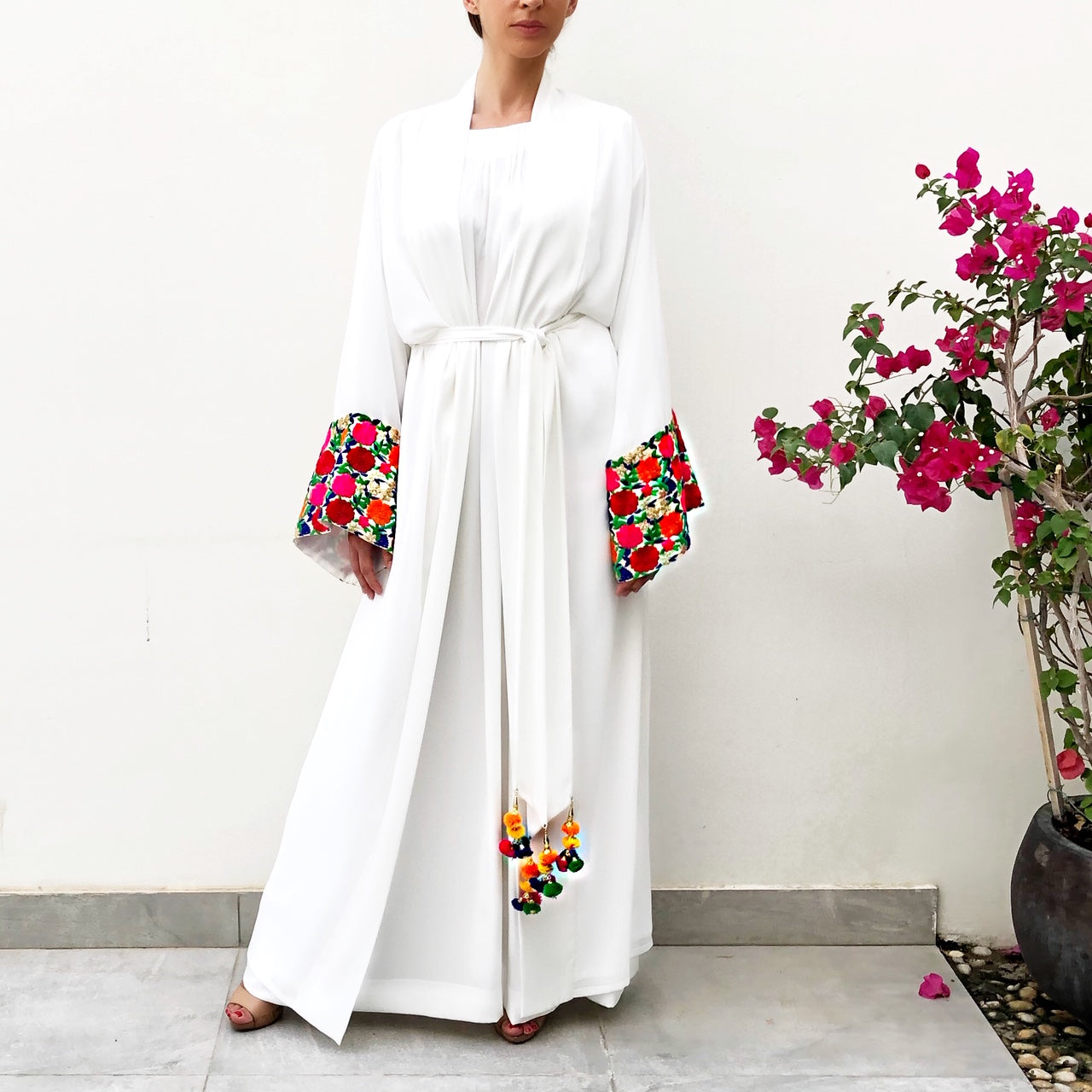 RAM19 INDIAN ROSE WHITE CHIFFON  ABAYA