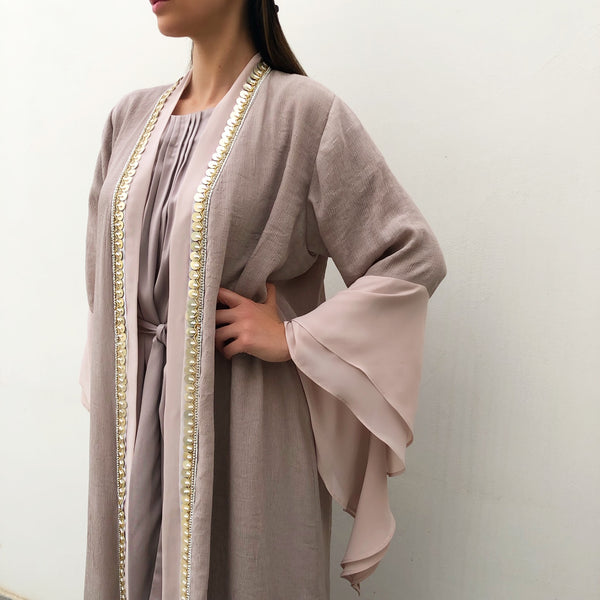 RAM19 MONA PEBBLE DOUBLE LAYER ABAYA