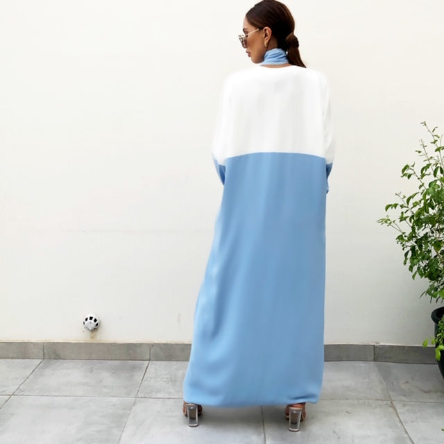 AW19 BABY BLUE CREPE TIE COLOUR BLOCK ABAYA