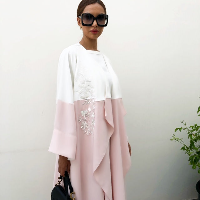 AW19 WATERFALL PINK CREPE COLOUR BLOCK ABAYA