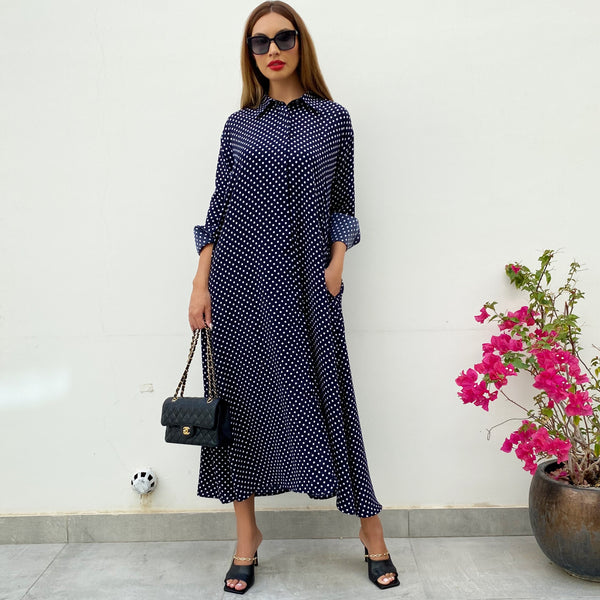 RAM21 FARAH KAFTAN SHIRT DRESS POLKA DOTS