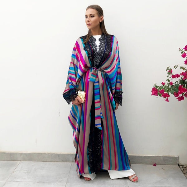 RAM19  Striped Silk Mix Caftan Abaya with French Lace