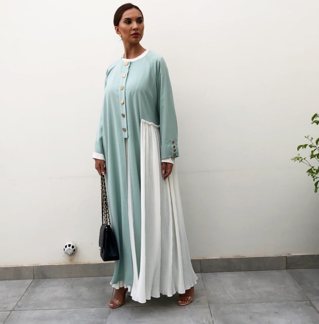 AW19 TIFFANY BLUE ABAYA WITH WHITE PLEATS