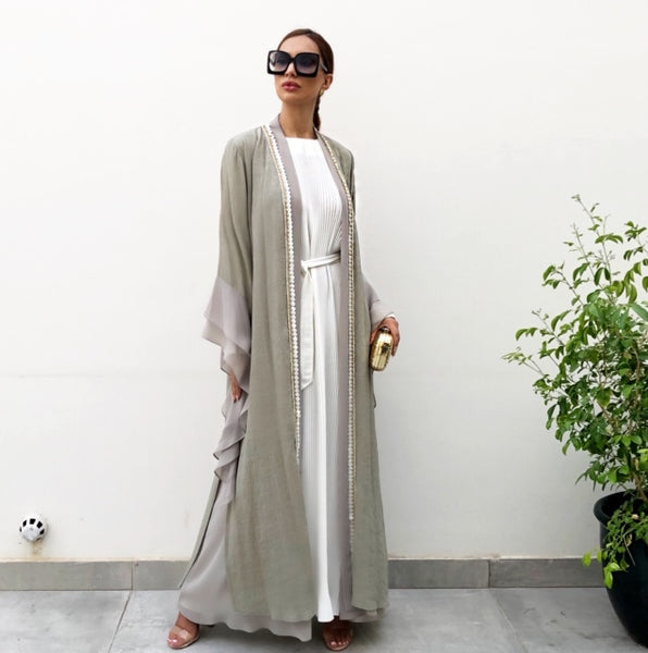 AW19 MONA KHAKI DOUBLE LAYER ABAYA