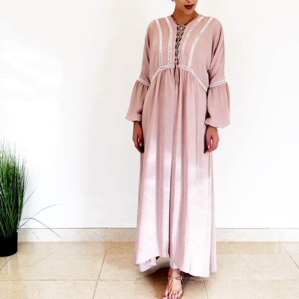 AW18 BLUSH PINK BOHO LACE-UP ABAYA