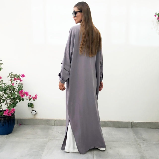 AW18 CHARCOAL DROP SHOULDER ABAYA WITH SWAROVSKI DETAILING