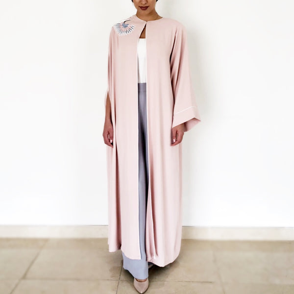 AW18 BLUSH SEMI CAPE WITH EMBROIDERED CRANE