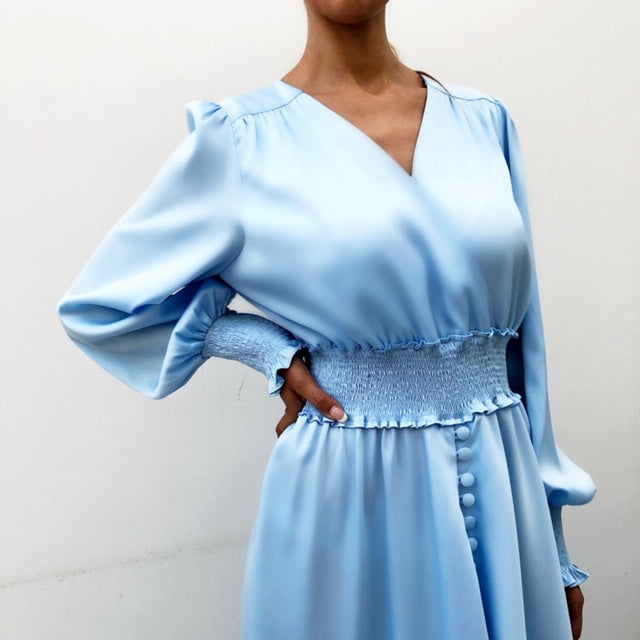 AW19 BABY BLUE RUCHED WAIST MAXI DRESS